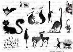 Декупажная карта DECORITI, DDK 00001 (Черно-белые кошки), формат А3 ― HandMadeDecor