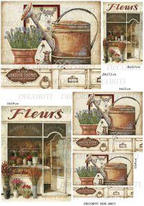 Декупажная карта DECORITI, DDK 00073 (Старинный цветочный магазин), формат А3  ― HandMadeDecor