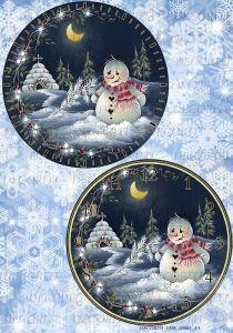 Декупажная карта DECORITI, A4 DDK 00081 (Часы - Застенчивый снеговичок), формат А4 ― HandMadeDecor