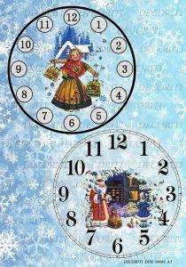 Декупажная карта DECORITI, DDK 00084 (Часы - Девушка с коромыслом, Дедушка Мороз и Снегурочка), формат А3 - ПОДАРОК (при покупке от 2000 руб) ― HandMadeDecor
