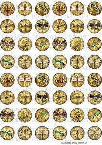 Декупажная карта DECORITI, DDK 00098 (Круглые медальоны - стрекозки), формат А3   ― HandMadeDecor