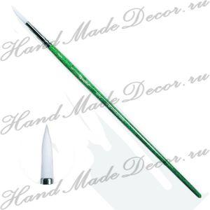 Кисть жемчужная синтетика, круглая №8, длинная зелёная ручка ― HandMadeDecor