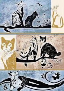 Рисовая бумага с рисунком А2А 0002, формат А4, Кошки монохром ― HandMadeDecor