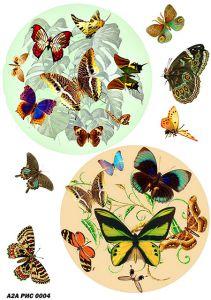 Рисовая бумага с рисунком А2А 0004, формат А4, Бабочки в круге ― HandMadeDecor