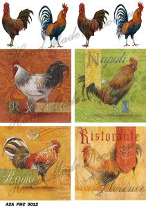 Рисовая бумага с рисунком А2А 0012, формат А4, Итальянские петушки ― HandMadeDecor