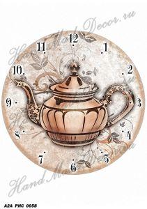 Рисовая бумага с рисунком А2А 0058, формат А4, Циферблат. Время пить чай ― HandMadeDecor