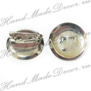 Основа для броши круглая с булавкой, цвет серебристый, 25 мм, 1 шт   - РАСПРОДАЖА (скидки не распространяются) ― HandMadeDecor