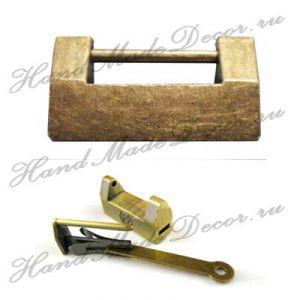 Замок навесной миниантикварный + ключик, античное золото, 32х20 мм ― HandMadeDecor