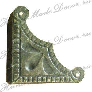 Комплект декоративных уголков-скоб для шкатулки, цвет античная бронза, 38х50 мм (с крепежом) ― HandMadeDecor