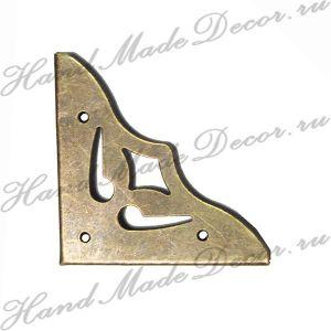 Комплект декоративных уголков-накладок для шкатулки 35х50 мм, цвет античная бронза (без крепежа) ― HandMadeDecor