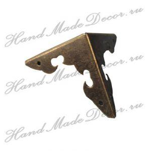 Комплект декоративных уголков для шкатулки, цвет античная бронза, 27х40 мм  (без крепежа) ― HandMadeDecor