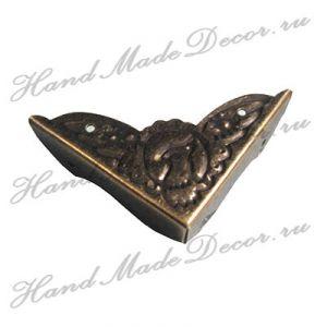 Комплект декоративных уголков - скоб для шкатулки, цвет античная бронза,  60х45х10 мм  (без крепежа) ― HandMadeDecor