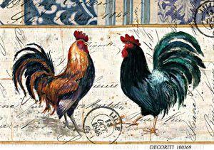 Рисовая бумага с рисунком DECORITI 100369, формат А4, Петухи  ― HandMadeDecor