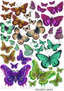 Декупажная карта  DECORITI 100478, формат А4,  Яркие бабочки ― HandMadeDecor