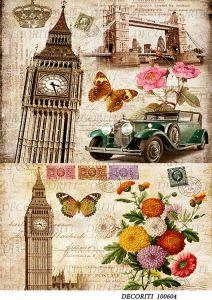 Декупажная карта  DECORITI 100604, формат А4,  Лондон - коллаж ― HandMadeDecor
