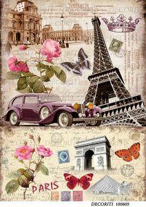 Декупажная карта  DECORITI 100605, формат А4,  Париж - коллаж ― HandMadeDecor