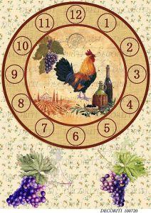 Рисовая бумага с рисунком DECORITI 100720, формат А4, Циферблат с петухом/виноград ― HandMadeDecor
