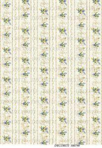Декупажная карта  DECORITI 100790, формат А4, Полоска с мелкими букетиками ― HandMadeDecor