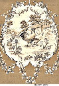 Рисовая бумага с рисунком DECORITI 100795, формат А4, Винтажная виньетка с курицей и петухом ― HandMadeDecor