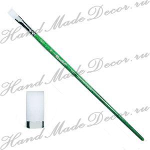 Кисть жемчужная синтетика, плоская №16, длинная зелёная ручка  ― HandMadeDecor