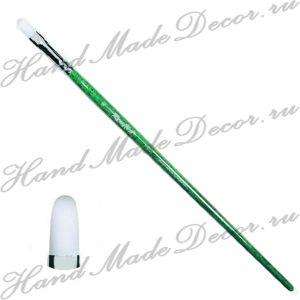 Кисть жемчужная синтетика, овальная №14, длинная зелёная ручка ― HandMadeDecor