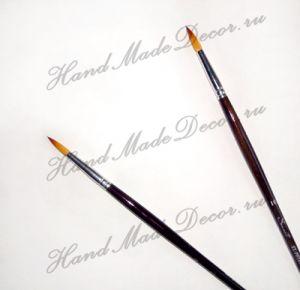 """Кисть золотистая синтетика """"Sonnett"""" круглая №10 длинная тонированная деревянная ручка    - Аттракцион (скидки не применяются)  ― HandMadeDecor"""