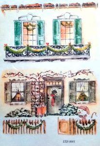 Рисовая бумага с рисунком DECORITI EXC0001, формат А4, Новогодние окна и двери  ― HandMadeDecor