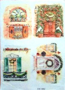 Рисовая бумага с рисунком DECORITI EXC0002, формат А4, Новогодние окна и двери ― HandMadeDecor