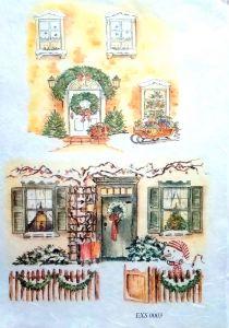 Рисовая бумага с рисунком DECORITI EXC0003, формат А4, Новогодние окна и двери  ― HandMadeDecor