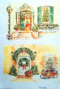Рисовая бумага с рисунком DECORITI EXC0004, формат А4, Новогодние окна и двери   ― HandMadeDecor