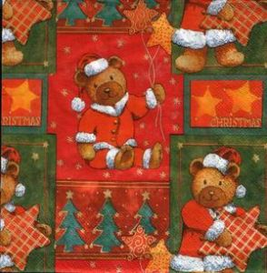 Салфетка для декупажа, 0082, медвежата в новогодних костюмчиках ― HandMadeDecor