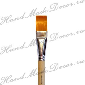 Кисть плоская синтетика №24, длинная светлая ручка ― HandMadeDecor