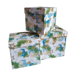 """Набор подарочных коробок-кубиков """"Новогодние"""", в наборе  3 шт  ― HandMadeDecor"""