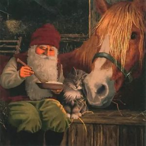 Салфетка для декупажа, 2195, 33х33 см, Гном и лошадь  ― HandMadeDecor