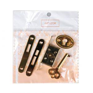 """Замок для шкатулки врезной """"С ключиком"""" 5 предметов в наборе 1х5,5 см  ― HandMadeDecor"""