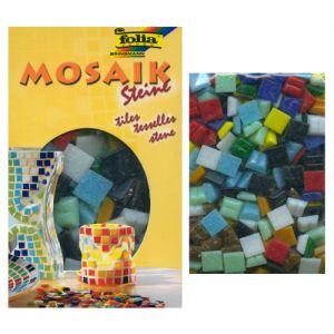 Мозаика стеклянная, 1х1 см, 200гр, упаковка  300шт.,  10 цветов ассорти   ― HandMadeDecor