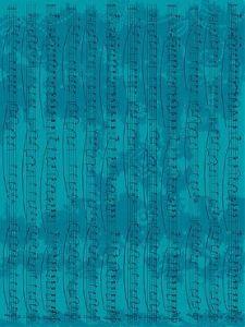 Бумага для техники DECOPATCH, арт 581, ноты на бирюзовом фоне, 30x39см ― HandMadeDecor