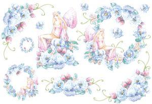Декупажные карты рисовые Stamperia, 33х48, DFS 045 Голубые цветы и фея  ― HandMadeDecor
