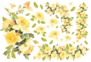 Декупажные карты рисовые Stamperia, 33х48, DFS 046 жёлтые розы  ― HandMadeDecor
