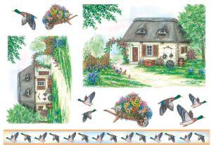 Декупажные карты рисовые Stamperia, 33х48, DFS 049 домик и утки ― HandMadeDecor