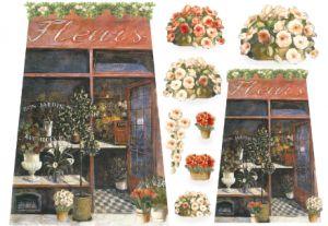 Декупажные карты рисовые Stamperia, 33х48, DFS 076 Цветочный магазин  ― HandMadeDecor