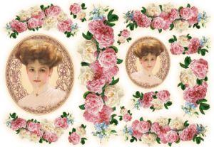 Декупажные карты рисовые Stamperia, 33х48, DFS 079 Женский портрет и розовые розы   ― HandMadeDecor