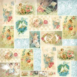 Рисовая салфетка STAMPERIA, арт. DFT194, 50х50см - Ангелы на открытках   ― HandMadeDecor