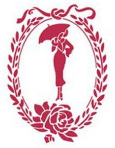 Трафарет STAMPERIA, Дама с зонтом в овальном медальоне, 20х15см  ― HandMadeDecor