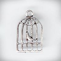 """Металлическая подвеска """"Клетка с птичкой 1"""", античное серебро, 12х18х2мм ― HandMadeDecor"""
