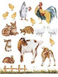 Декупажная карта DECOMANIA 048 Цыплята, курочки , кролики и козочки ― HandMadeDecor