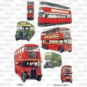 Декупажная карта  DECORITI 00917, формат А4, Лондонский транспорт   ― HandMadeDecor