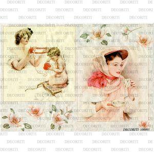 Рисовая бумага с рисунком DECORITI 100001, формат А4, Дама в розовом ― HandMadeDecor