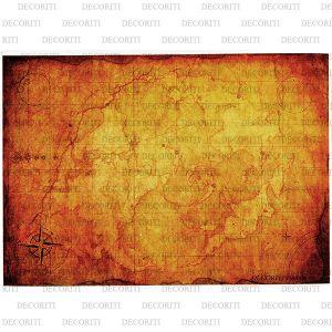 Рисовая бумага с рисунком DECORITI 100006, формат А4, Старая карта мира ― HandMadeDecor