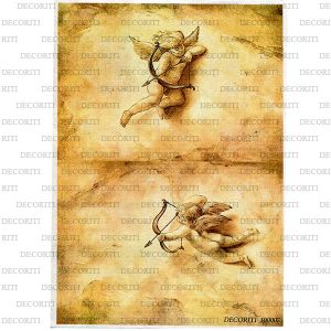 Рисовая бумага с рисунком DECORITI 100007, формат А4, Купидоны сепия  ― HandMadeDecor